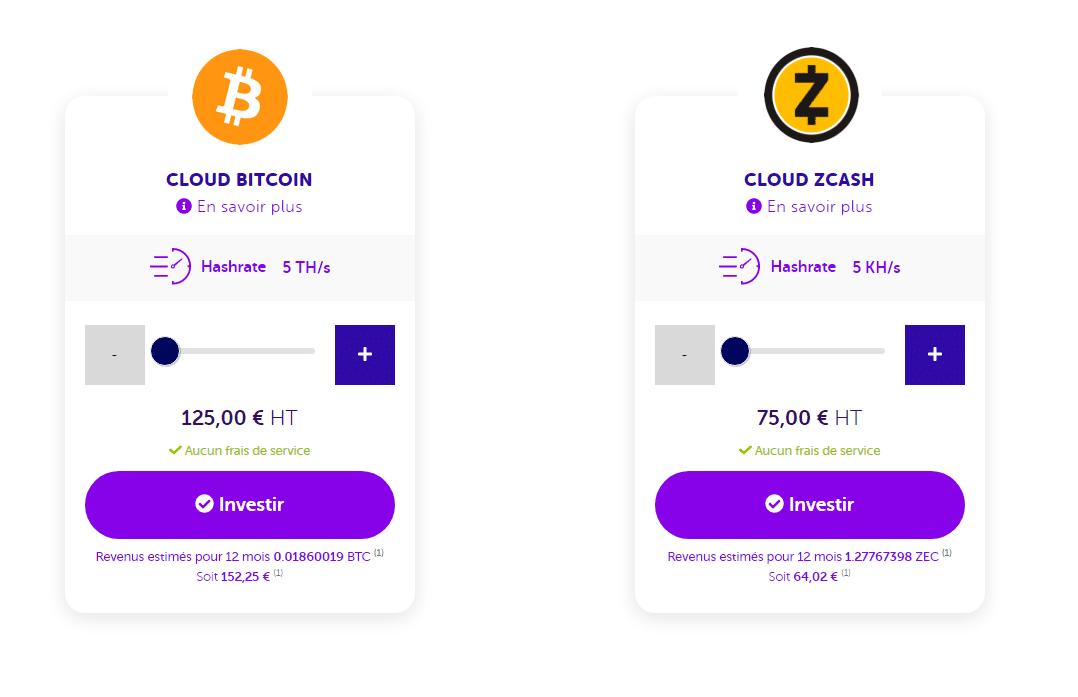 Les offres de cloud mining de Bitcoin et ZCash en abonnement mensuel et annuel de Feel Mining