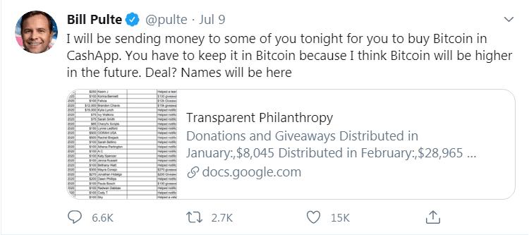 Les donations BTC de Bill Pulte sur Twitter