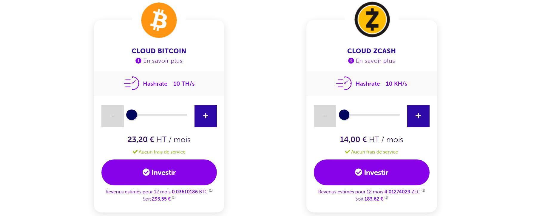 Le cloud mining de Bitcoin et ZEC sur Feel mining