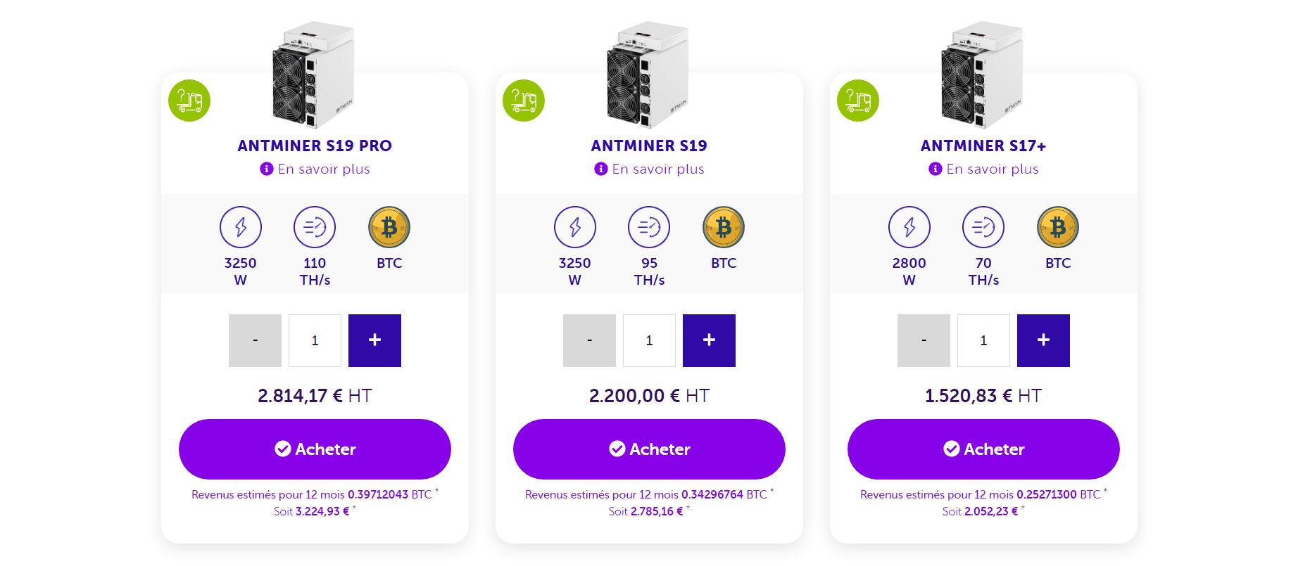 L'offre de machine de minage Bitcoin de Feel Mining