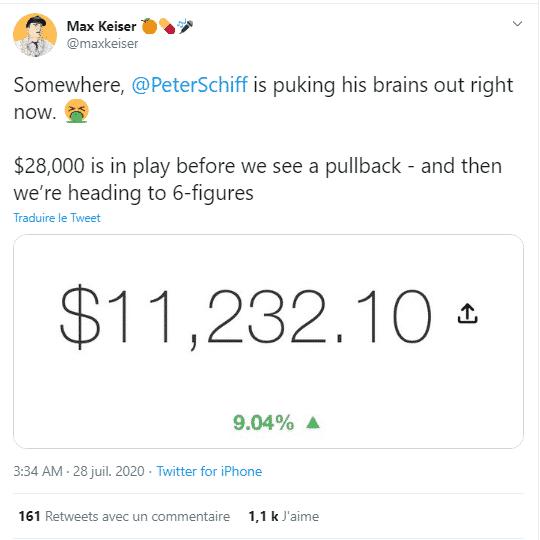 Max Keiser Bitcoin BTC 28 000 USD clash Peter Shiff