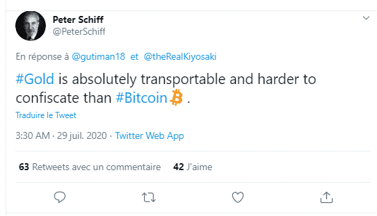 Schiff or critiques Bitcoin BTC