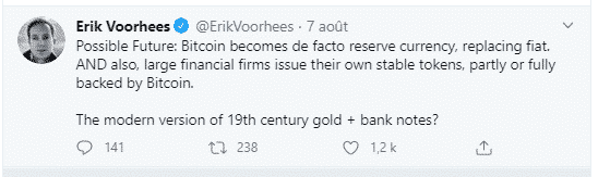Bitcoin BTC réserve monnaie mondiale