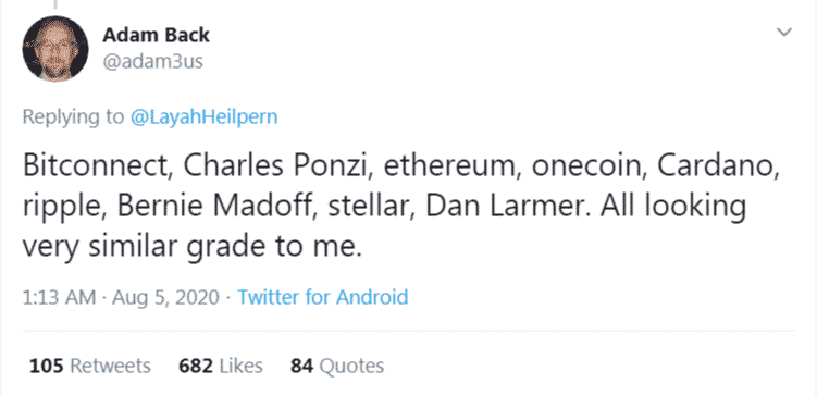 Adam Back Ethereum Cardano Ripple Stellar scam