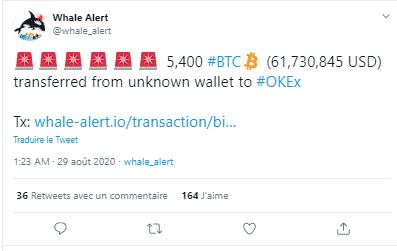 Baleines BTC Okex