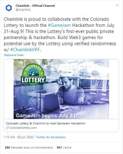 Chainlik loterie partenariat Colorado