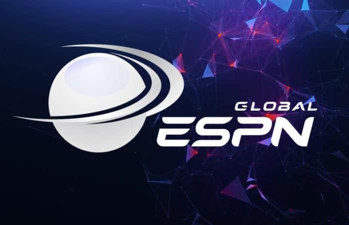 Logo de Global ESPN qui accepte désormais les paiements en crypto et Bitcoin grâce à la blockchain