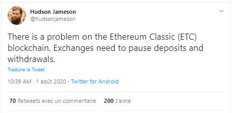 hack piratage Ethereum Classic ETC Hudson Jameson
