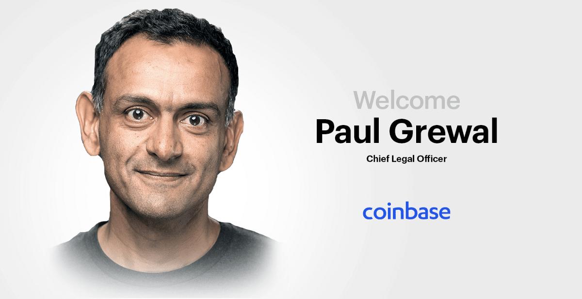 Paul Grewal, nouveau directeur juridique de Coinbase