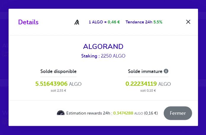 Les informations disponibles sur Algorand (ALGO sur le tableau de bord)