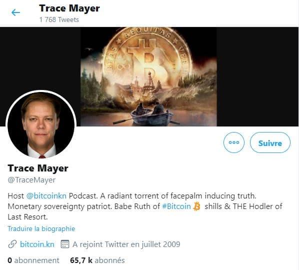 Profil Twitter de Trace Mayer, un influenceur Bitcoin
