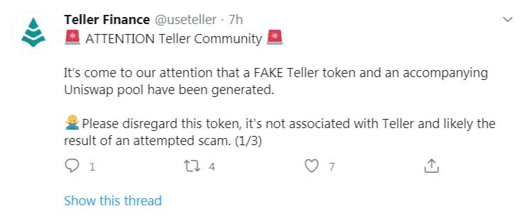 Uniswap Teller Finance faux token