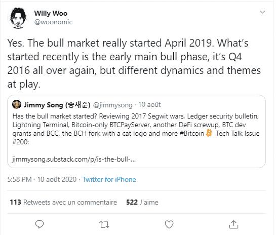 Willy Woo bull run Bitcoin BTC