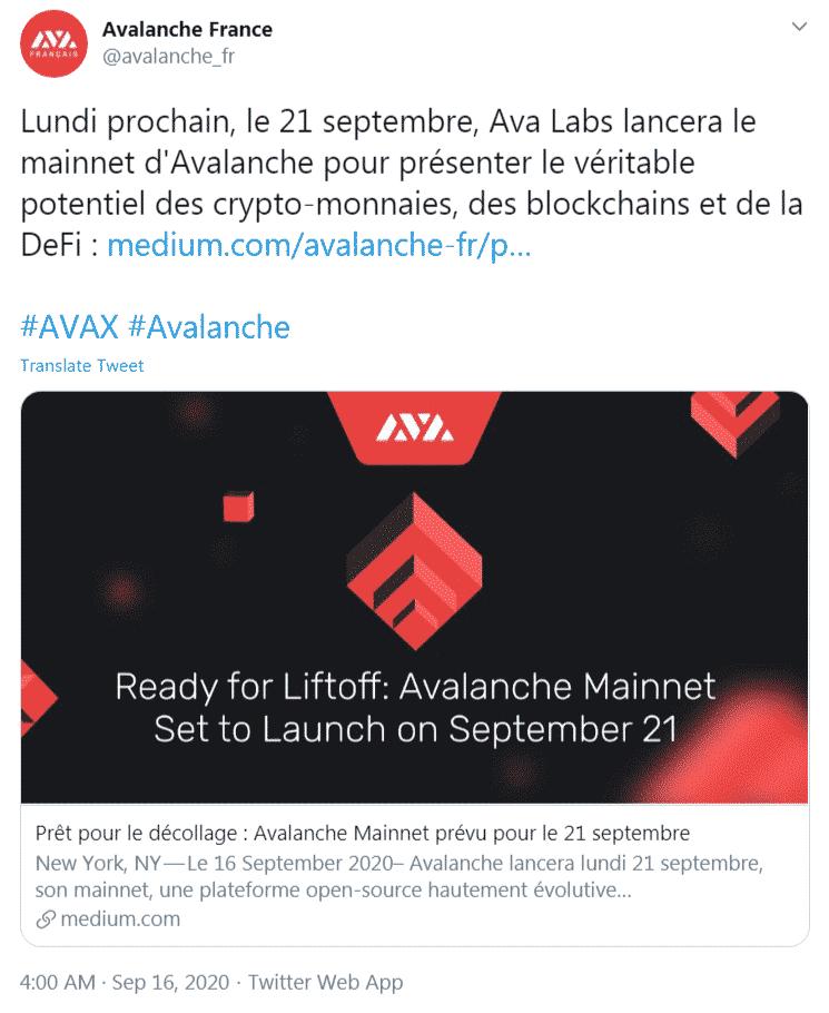 Avalanche AVAX lancement 21 septembre 2020