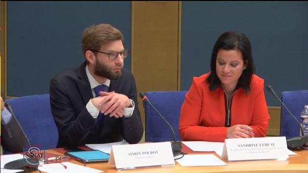 Simon Polrot et Sandrine Lebeau au Sénat