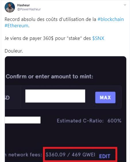 Tweet du Youtubeur Hasheur à propos des frais de transaction énormes sur Ethereum.