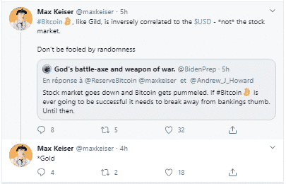 Max Keiser corrélation inversée Bitcoin BTC dollar USD