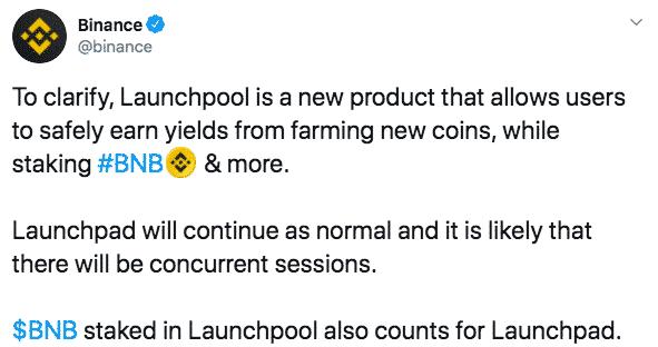 Binance Launchpool Launchpad Binance Coin BNB