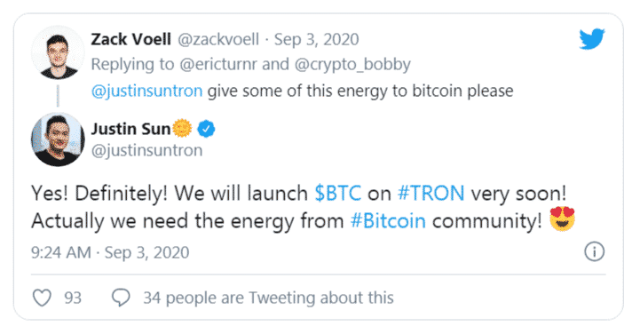Justin Sun Tron TRX Bitcoin BTC