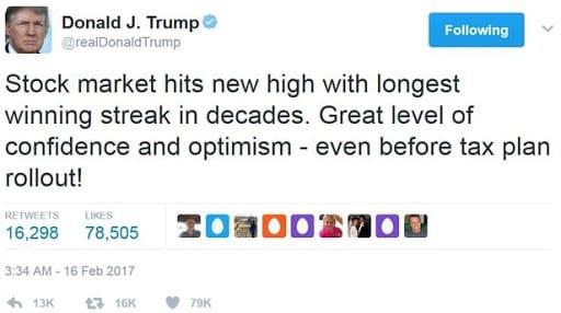 Trump tweet stock market
