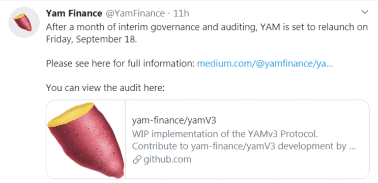 Yam Finance 3 lancement