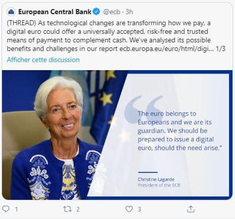 Christine Lagarde supporte l'euro digital
