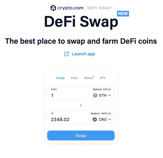 DeFi Swap crypto.com