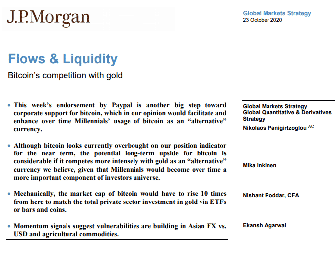 JP Morgan global markets strategy 23 octobre 2020
