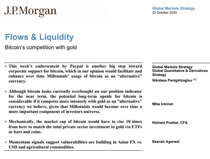 JP Morgan global markets strategy 23 octobre 2020