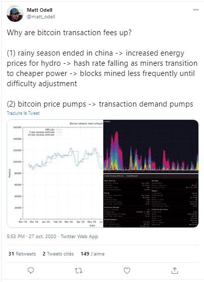 Bitcoin BTC minage frais de transaction
