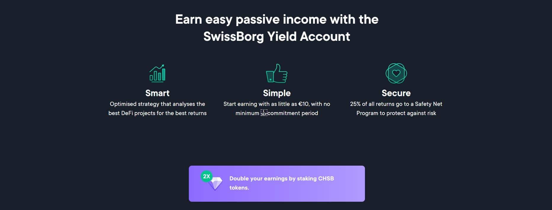 Les valeurs du nouveau produit de Swissborg, le Smart Yield Account