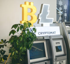 A cryptocurrency ATM or crypto machine in a shopping center