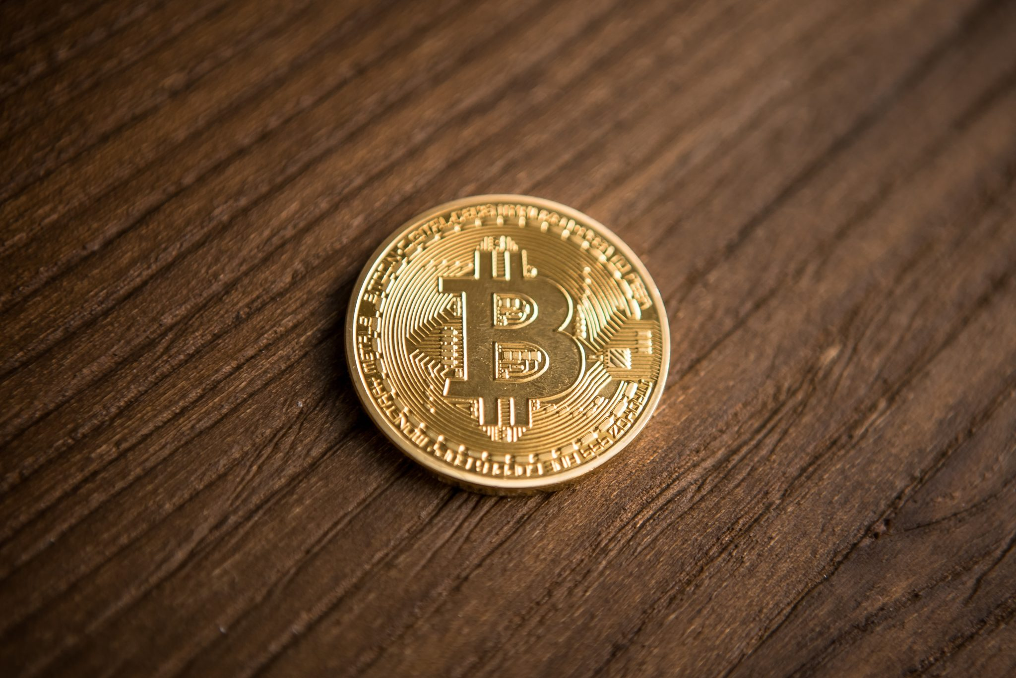 Bitcoin on Wood Grain