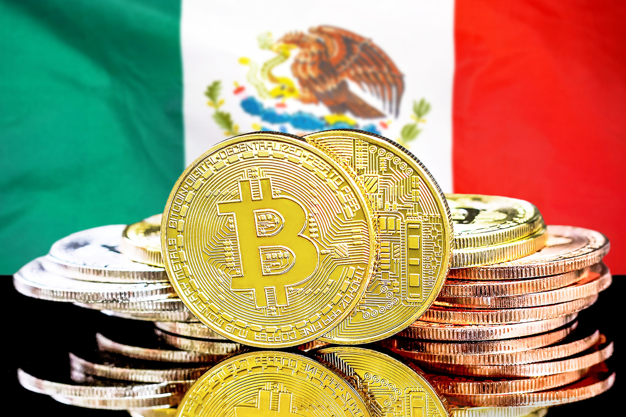 bitcoins on Mexico flag background