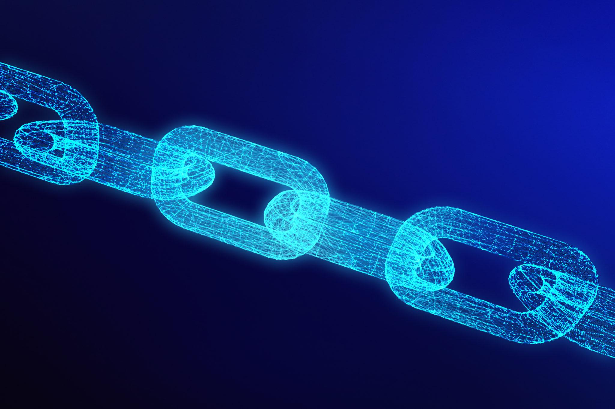 Blockchain digital illuminated shape.  data node base concept. 3
