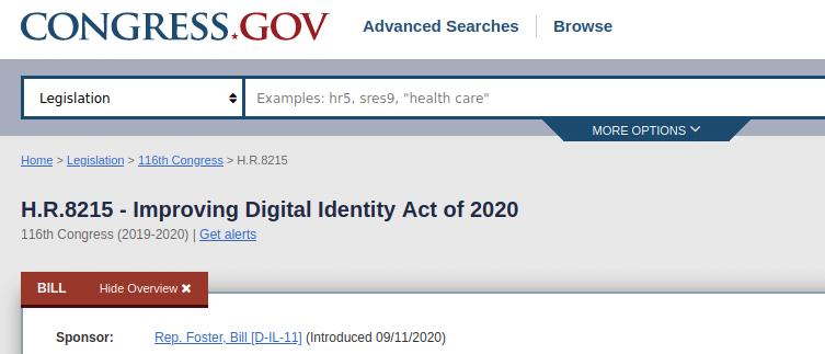 Improving Digital Identity Act of 2020