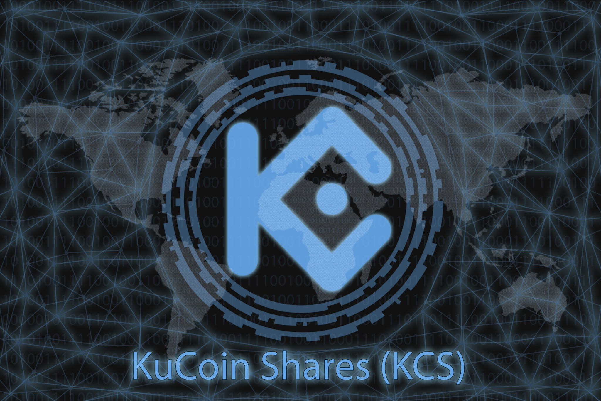 KuCoin Shares (KCS) Abstract Cryptocurrency. With a dark background and a world map. Graphic concept for your design.