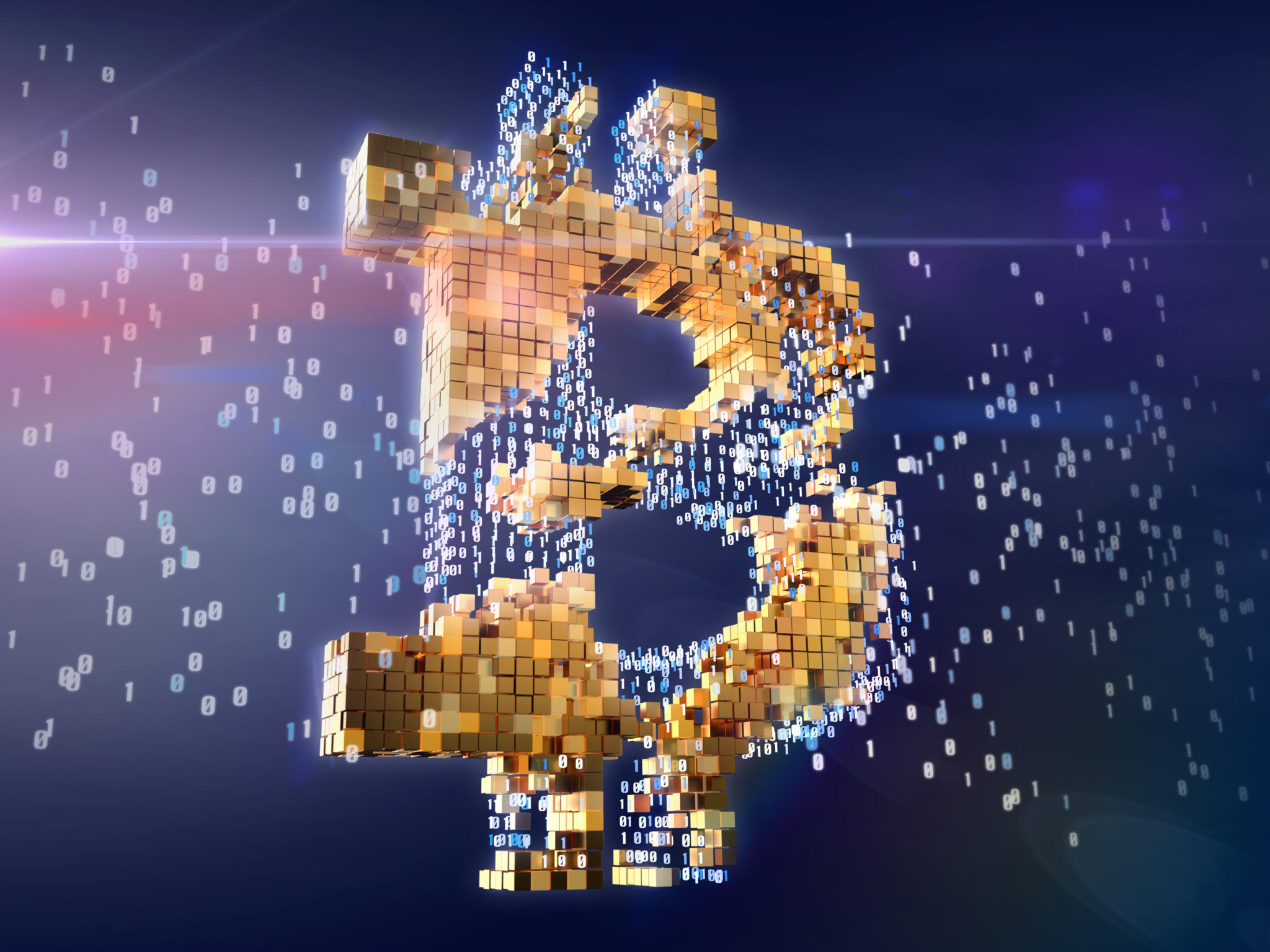 Numbers turning into golden bitcoin sign. Blockchain concept. 3D