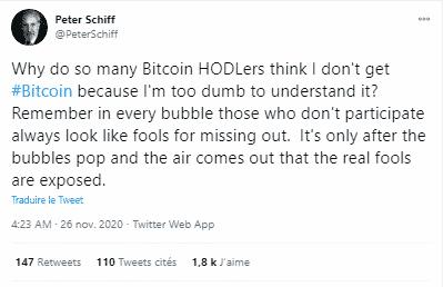 Peter Schiff Bitcoin BTC Thanksgiving krach