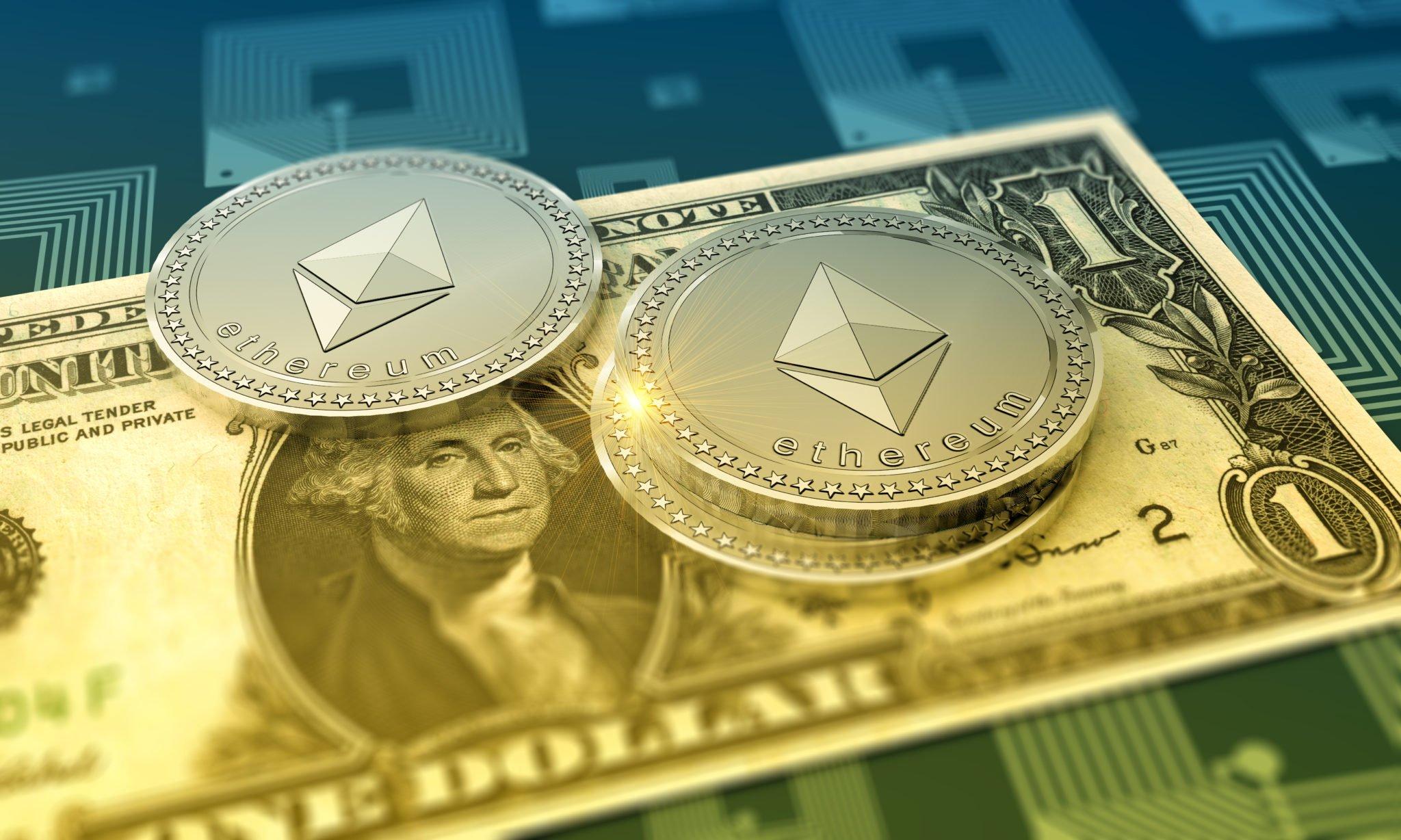 Ethereum shiny crypto-currency background