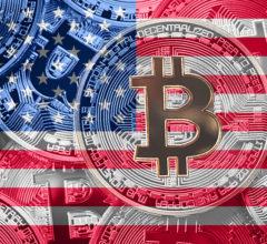 Stack of Bitcoin USA flag. Bitcoin cryptocurrencies concept. BTC background.