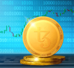 Tezos cryptocurrency; Tezos XTZ golden coin on the background of the chart