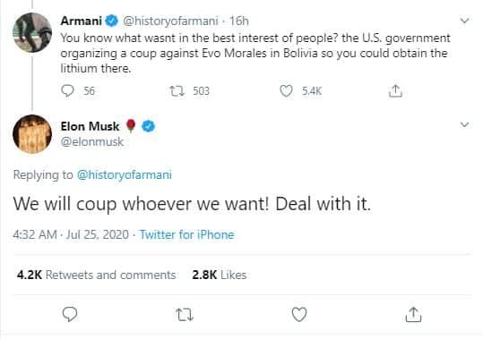 """Musk : """"we will coup whoever we want! DEal with it."""