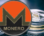Coin cryptocurrency monero on the background of a stack of coins. xmr
