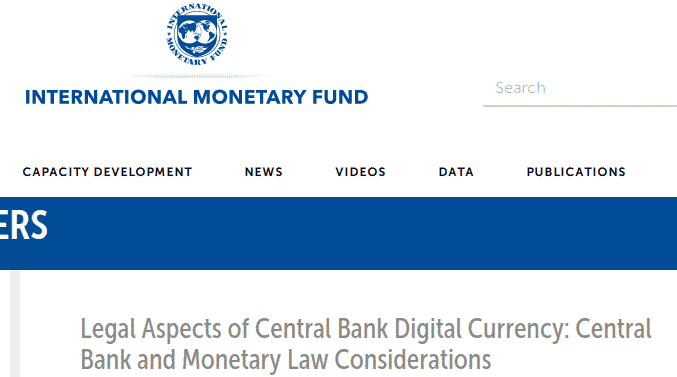 IMF legal aspects of central bank digital currency