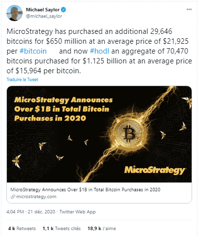 MicroStrategy achat Bitcoin BTC