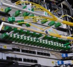 Optic-fiber telecommunication equipment in rack