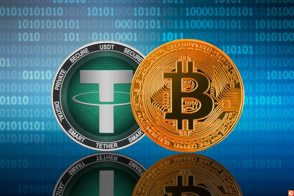 Bitcoin (BTC) and Tether (USDT) coin on the binary code background; bitcoin vs tether