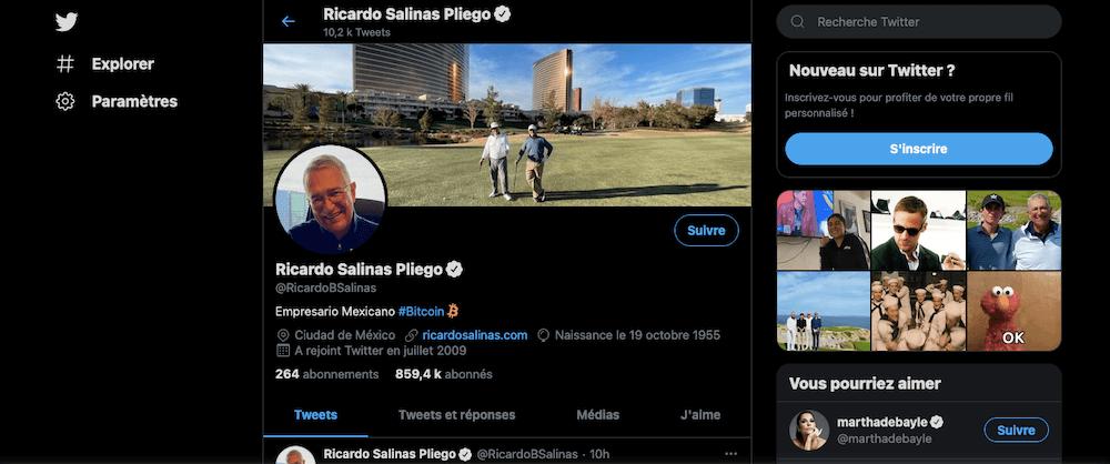 El famoso Ricardo Salinas Pliego ajoute Bitcoin (BTC) sur sa bio Twitter - Cointribune
