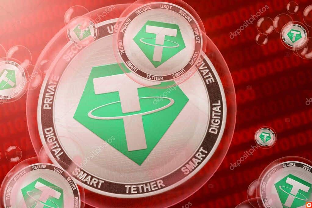 Tether crash; Tether (USDT) cryptocurrency coins in a bubbles on the binary code background. Close-up